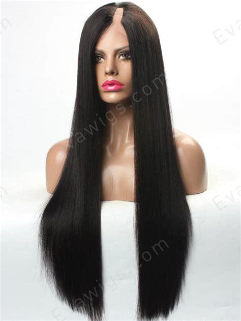 Handmade Human Hair Wigs - custom yaki u part lace human hair wig