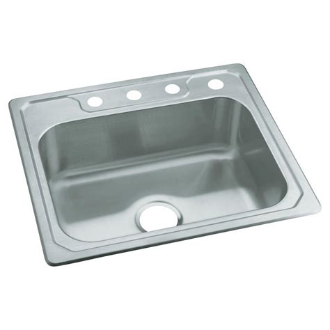 sterling kitchen sinks sterling middleton drop in stainless steel 25 in 4 hole