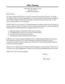 Cover Letter For Construction Bid Best General Contractor Cover Letter Exles Livecareer