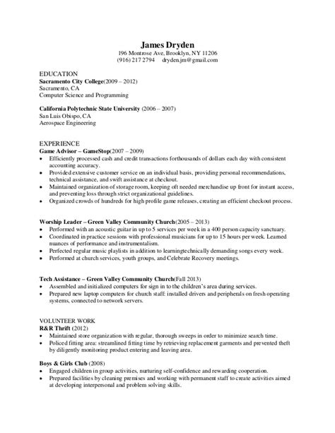 Gamestop Resume by Resume For Gamestop Resume Ideas