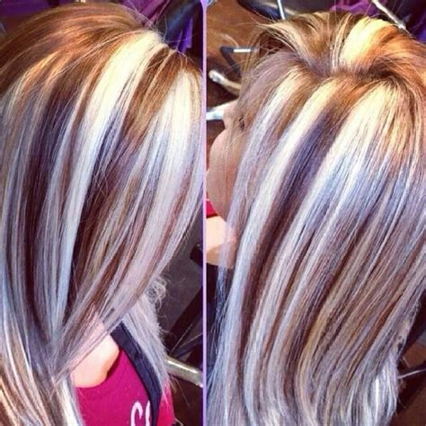 chunky red blonde and brown highlight pictures chunky highlights lowlights hair pinterest