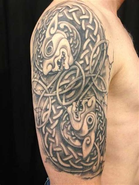 amazing celtic knot animals tattoo on shoulder