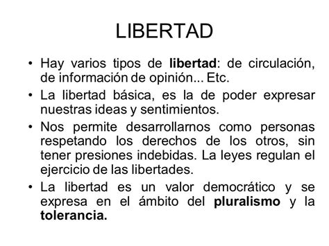 cuadro sinoptico de la libertad tipos de libertad