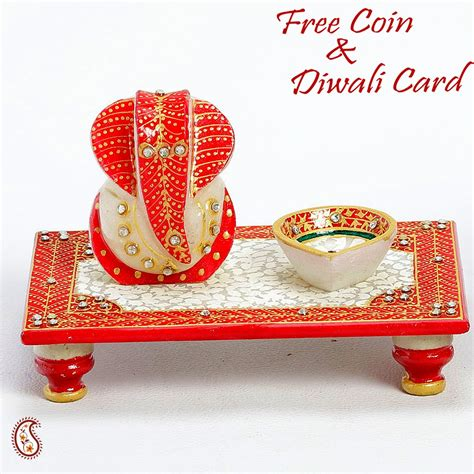 pooja online shopping rectangle chowki with ganapati and diya online shopping