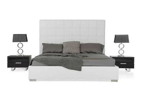 white leather bed high headboard francis modern white leather bed