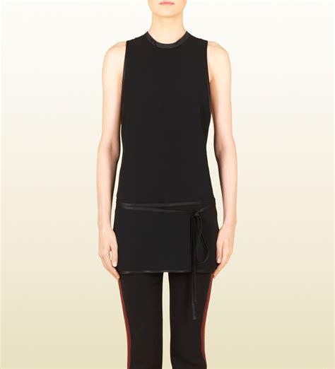 Dress Tunik Jucci gucci black satin sleeveless tunic top in black lyst