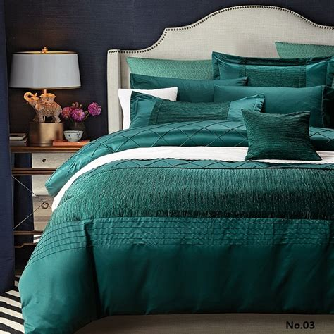 Sprei Bed Cover Home Silk Hs42 luxury designer bedding set quilt duvet cover blue green bedspreads cotton silk sheets bed linen
