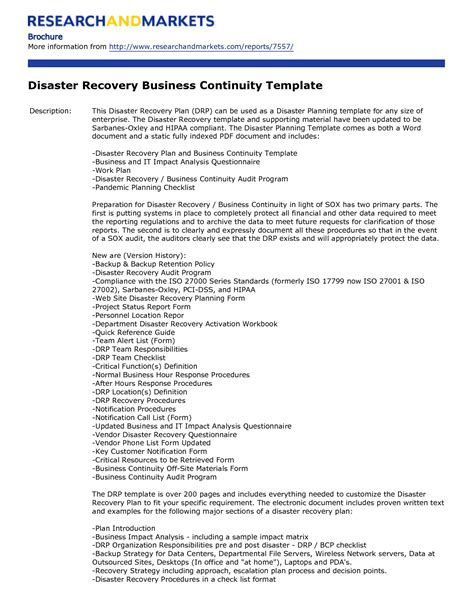 free disaster recovery plan template disaster recovery plan template free free business template