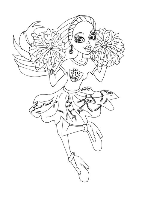 monster high cheerleader coloring pages cheerleading pom poms coloring pages megaphone monster