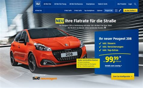 Auto Versicherung Leasing by 1 1 G 252 Nstiges Auto Leasing Angebot Zu All Net Flat