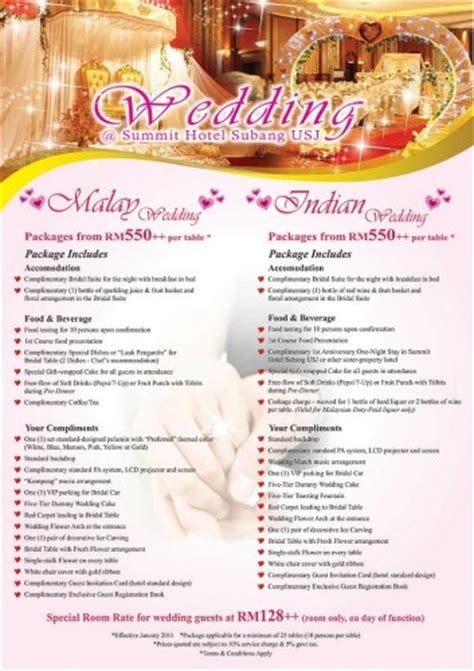 wedding packages  summit hotel subang usj