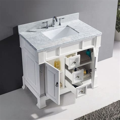 bathroom vanity 40 40 quot huntshire single bathroom vanity in white with marble top