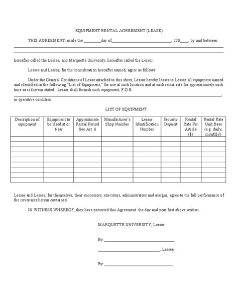 equipment rental and lease template free download