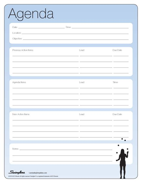 Editable General Agenda Template Exle With Tables And Blue Background Thogati Free Printable Meeting Minutes Template