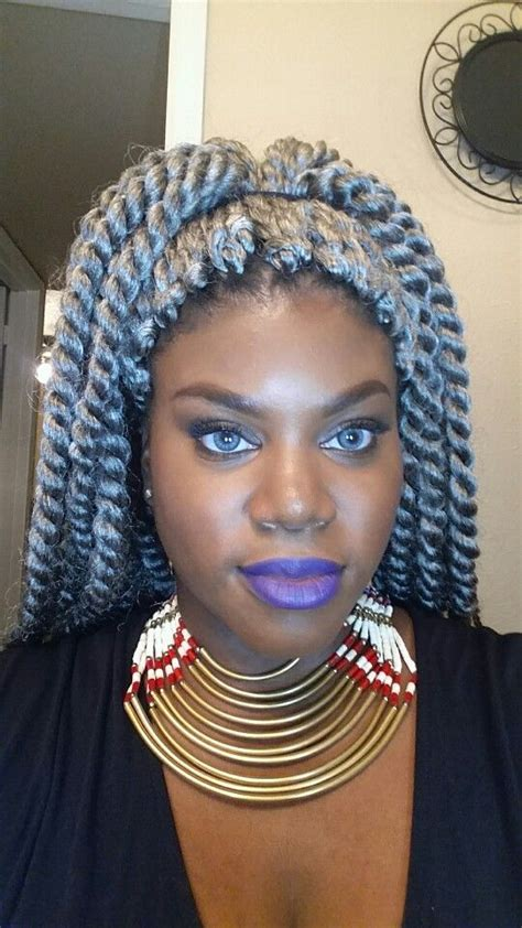 kinky twist silver hair twists crochet and grey on pinterest