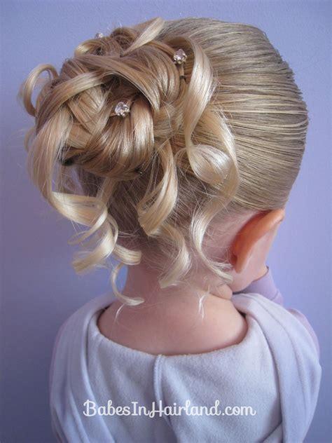 fancy kid hair feather braided bun 2 babes in hairland
