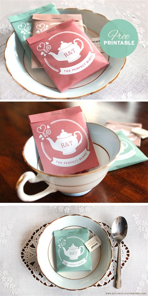 bridal shower tea favor ideas free printable tea package wedding favors botanical paperworks