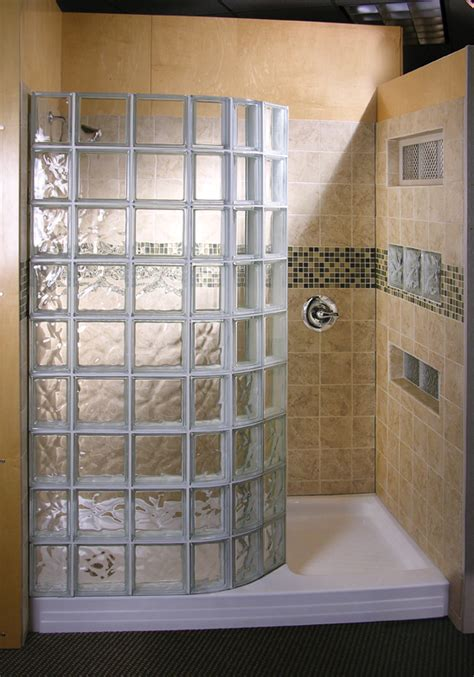 glass block designs for bathrooms doorless shower design glass block showers doorless
