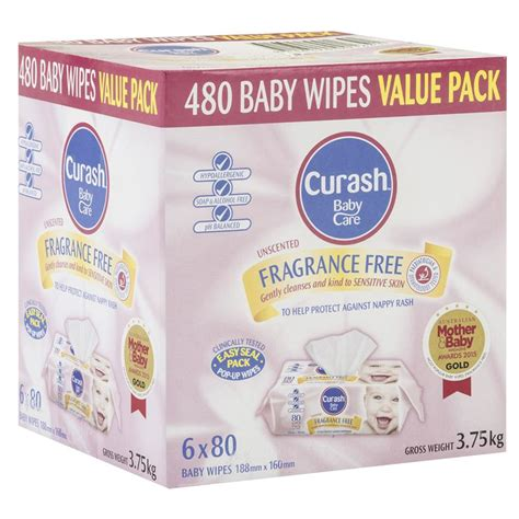 Baby And Wipes 60pcs 3pack buy curash baby wipes fragrance free 6 x 80 value pack at chemist warehouse 174