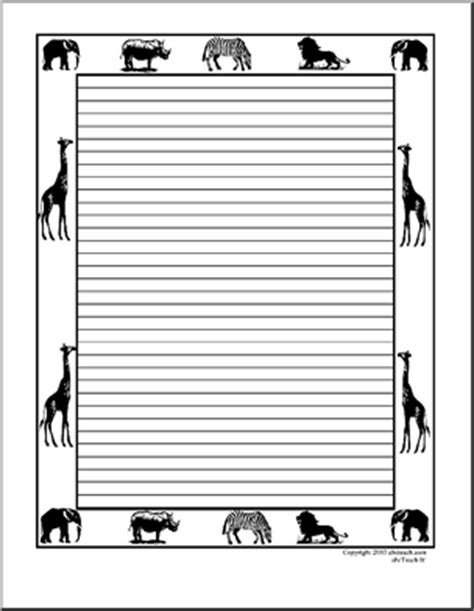 printable animal lined paper 5 best images of animal border paper printable free