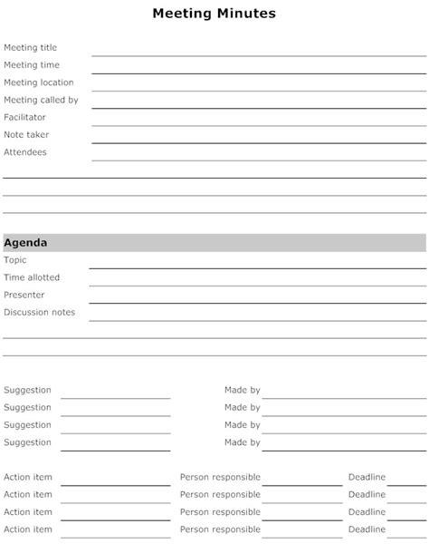 best photos of printable meeting minute sheet printable