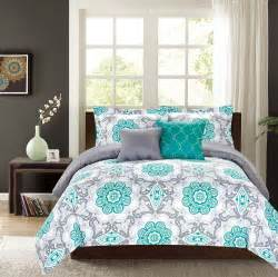 crest home sunrise king comforter 5 pc bedding set teal
