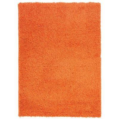 solid orange rug ottomanson contemporary solid orange 5 ft x 7 ft shag area rug shg2761 5x7 the home depot