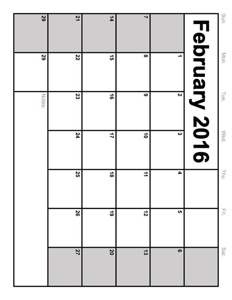 february 2016 calendar printable template 8 templates