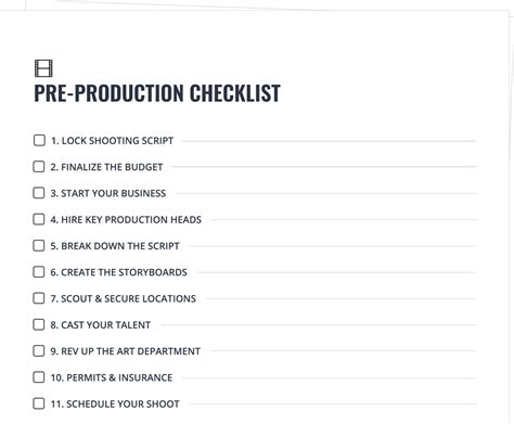 pre production templates beautiful production checklist template pictures
