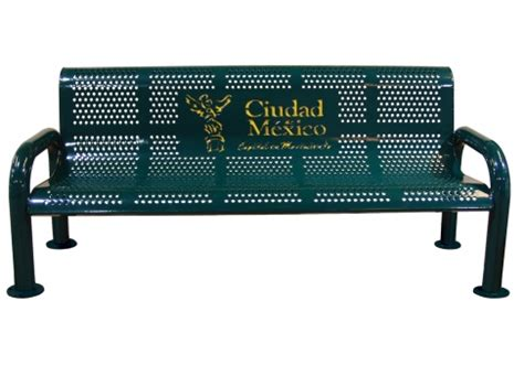 personalized park benches custom two color perforated u leg bench commercial site furnishings