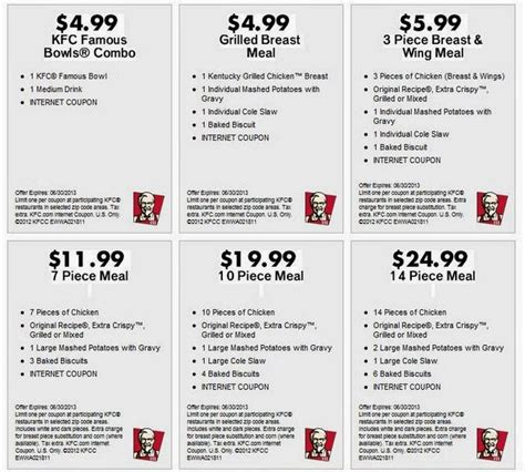 Printable Kfc Coupons | kfc coupons new calendar template site
