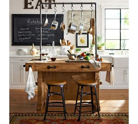 kitchen islands pottery barn decker wood seat barstool pottery barn