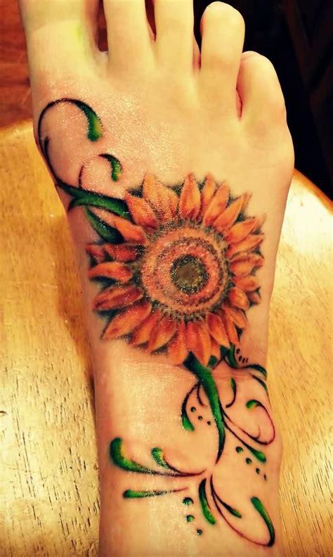 sunflower foot tattoo 33 sun flower foot tattoos