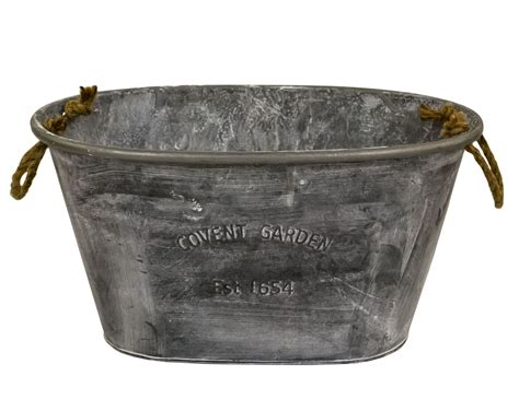 Tin Planter by Grown Covent Garden Large Oval Galvanised Zinc