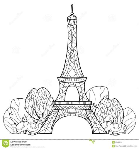 doodle tower doodle eiffel tower vector sketch stock