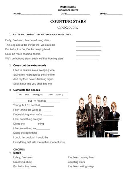 printable lyrics counting stars song worksheet counting stars