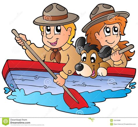 ellen boat dog bed wooden boat with scout boy and girl stock vector image