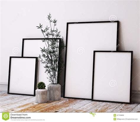 interior design picture frames mock up poster frames in loft interior stock