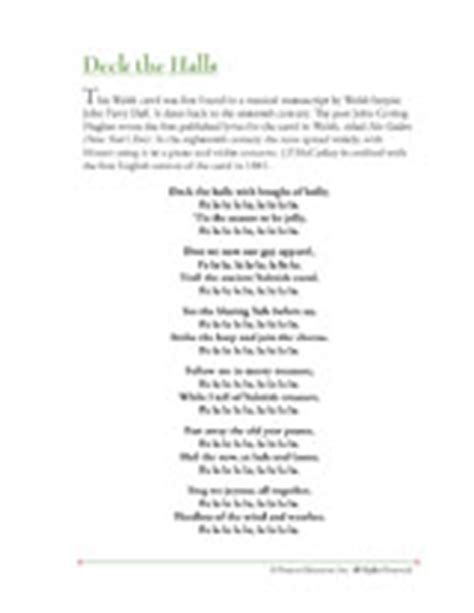printable lyrics for deck the halls christmas song lyrics deck the halls printable