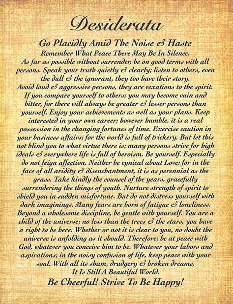 Posters Home Decor by Desiderata By Max Ehrmann On Fossil Paper Drawing By