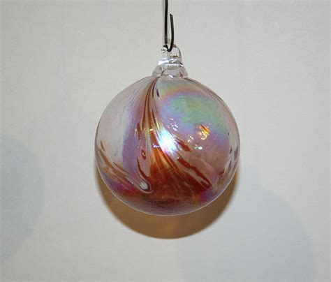 hand blown glass christmas ornament white red feathered