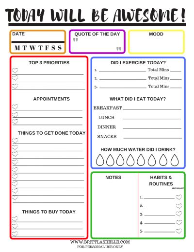 free printable daily goal sheets setting goals free daily goals worksheets in 7 colors