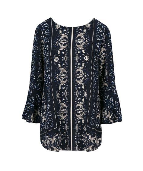 Lace Up Back Blouse flounce sleeve lace up back tunic blouse rickis