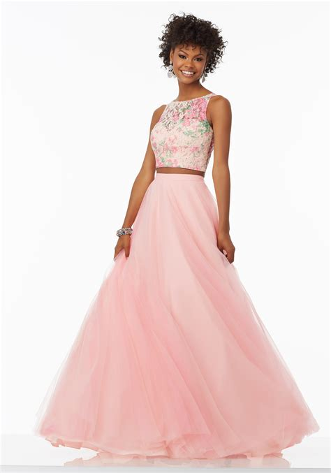 Tulle Top Dress two prom dress with tulle skirt style 99118 morilee