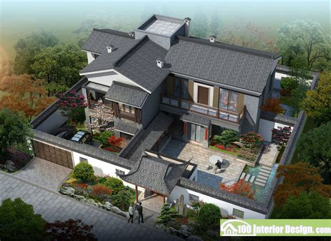 china home design chinese classical garden and courtyard aerial view