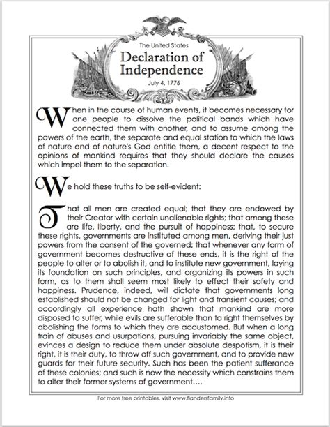 printable declaration of independence free printable introductory paragraphs of the declaration