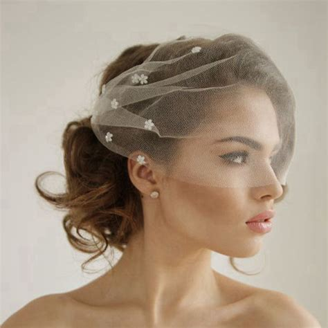 Wedding Hairstyles With Veil And Flower Big by Silk Tulle Bandeau Birdcage Wedding Veil With Flowers