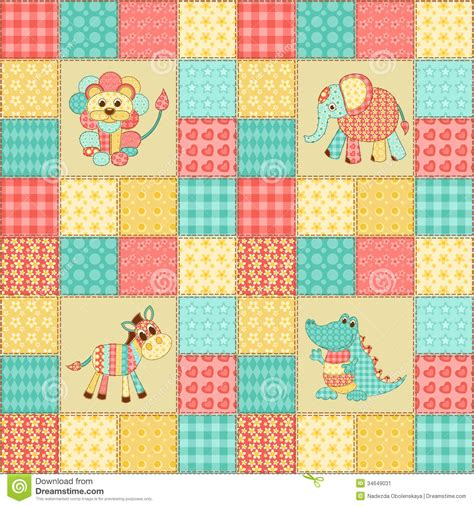 Patchwork Animal Patterns - patchwork animals stock image image 34649031