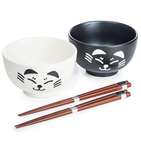 Black Cat Set black and white cat japanese bowl set