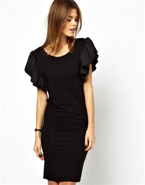 ruffle trim sleeve dress y a s way ruffle sleeve dress in jersey in black lyst